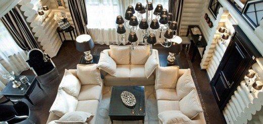 Черно-белый интерьер в белом доме