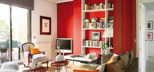 Красный в интерьере мансарды в Мадриде