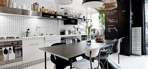 Стильный дизайн кухни черно белый