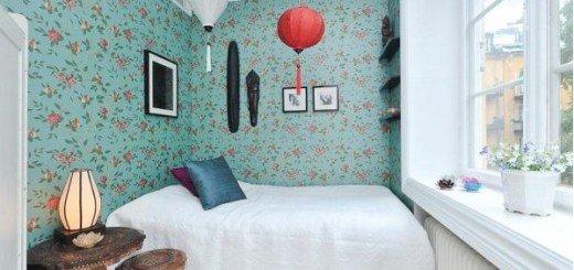 Цветочные обои в маленькой квартире