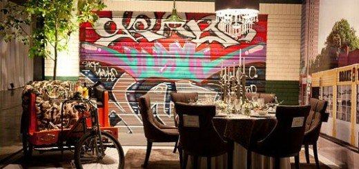 Душевное тепло граффити в интерьере