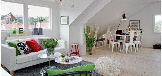 Квартира мансарда со свежим скандинавским интерьером