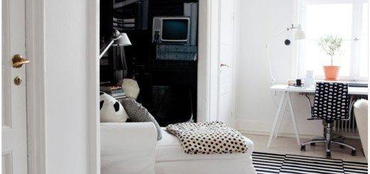 Красивый интерьер черно белый в маленькой квартире
