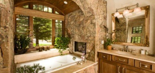 Камины в интерьере ванной комнаты