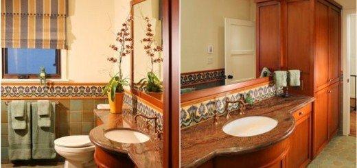 Аикантный цвет добавит характер ванной комнтае