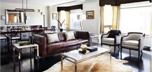 Кожаный диван и ковер из шкуры
