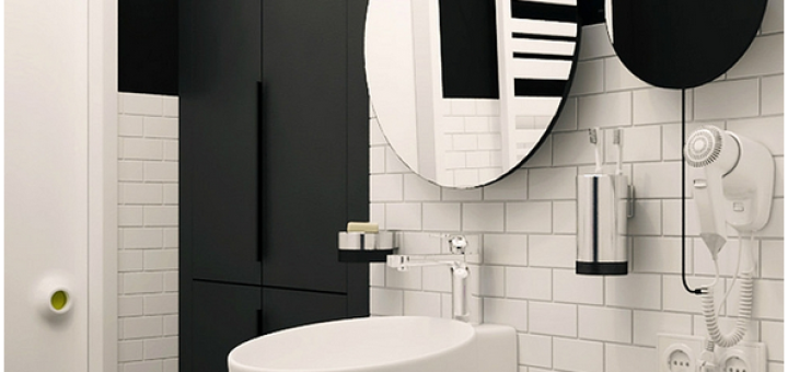 Однокомнатная квартира с черно-белым интерьером