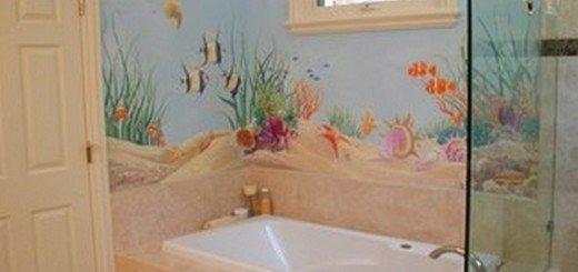 Чем отделать ванную комнату Художественная роспись в ванной комнате