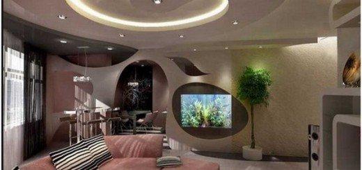 Гостиная с подвесным потолком