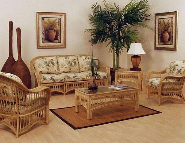 плетеная мебель из ротанга в колониальноми стиле интерьера