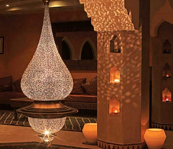 Смелый дизайн, марокканский стиль в интерьере,освещение