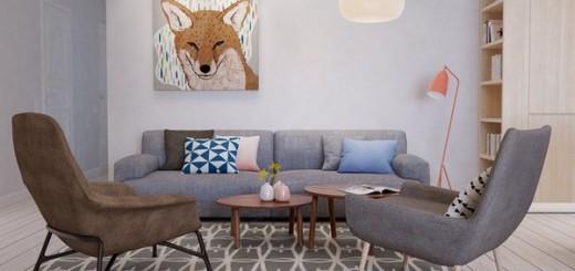 Эклектичный дизайн квартиры, дизайн гостиной