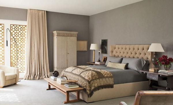 Как использовать серо коричневый цвет в интерьере, стены в спальне