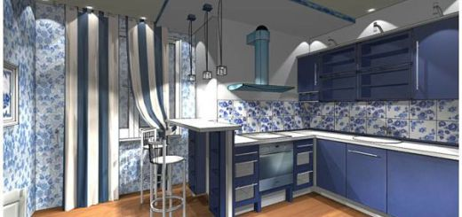Кухня в «стиле гжель»