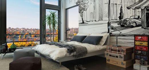 Стены  в спальне с городским пейзажем