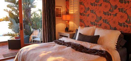 Смелые маки Обои идеи дизайна спальни