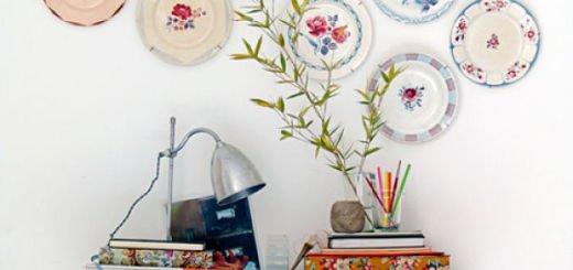 Как можно украсить стену керамическими тарелками в деревенском стиле_opt