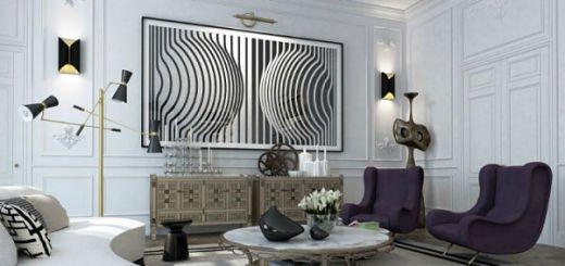 Черно-белый интерьер и картины