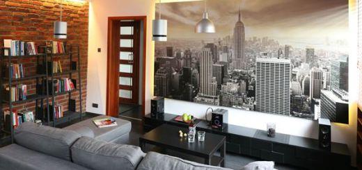 Фотообои увеличивают пространство в маленькой гостиной
