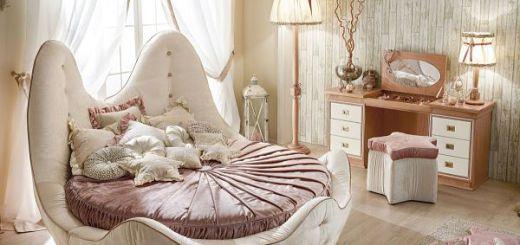 Спальня с круглой кроватью дизайн вдохновленный морем