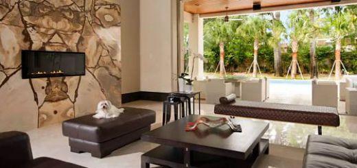 Модный необычный дизайн гостиной современной квартиры