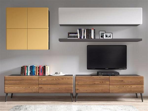 Дизайн стены с телевизором.  Две тумбы лучше одной