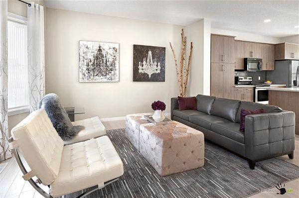 Современная мебель для гостиной  в простых цветах