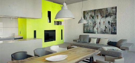 Зонирование гостиной комнаты  используя цвет-opt