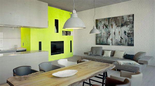 Зонирование гостиной комнаты  используя цвет