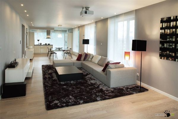 Зонирование гостиной комнаты при помощи декора и освещения