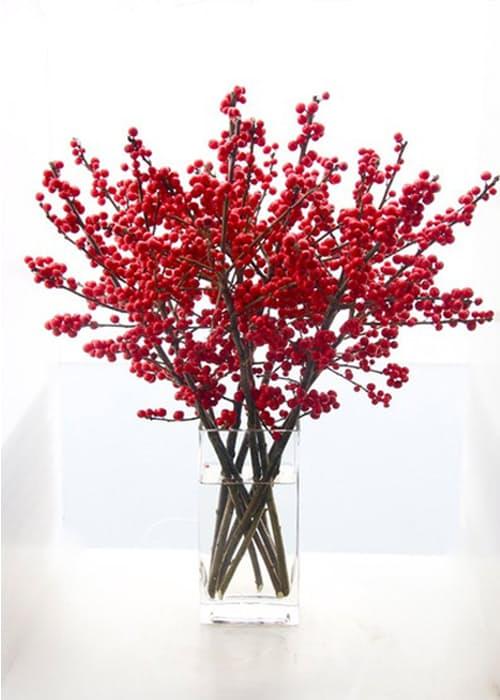 Интересные Новогодние идеи ветка с красными ягодами