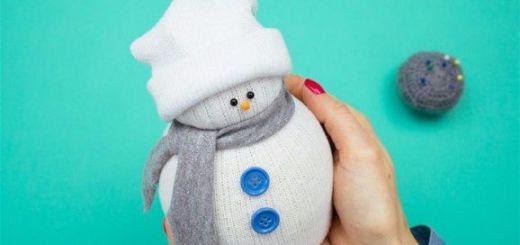 Как сделать снеговика из носка своими руками шаг 15