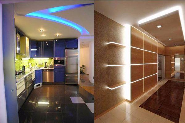 Современное освещение. Светодиодная лента в интерьере квартиры