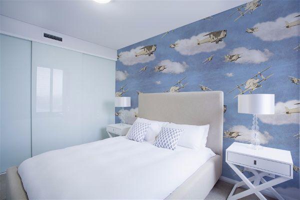 Восхитительно красивый синий цвет в спальне