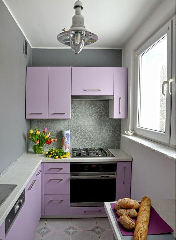 Нежный фиолетовый оттенок подойдет для маленькой кухни