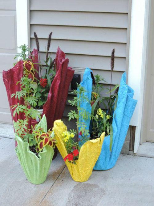 Декоративные горшки для сада своими руками