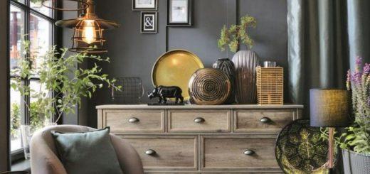 Декор золотом в интерьере - комод из коллекции мебели Канне
