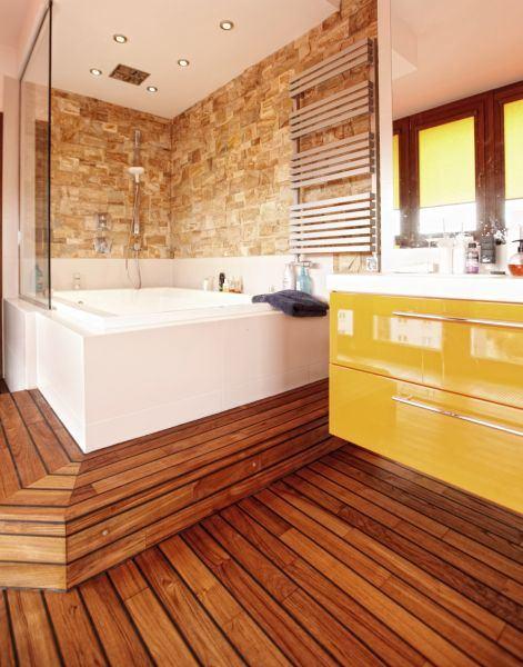 Оформление ванной комнаты с помощью пола винила