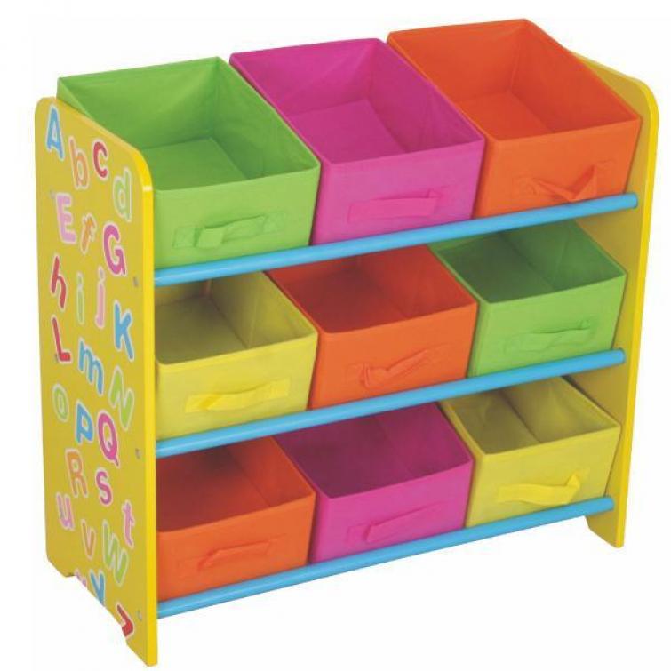 разноцветные ящики для хранения в детской