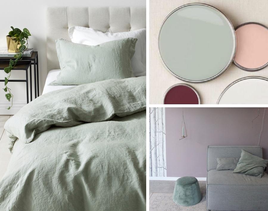 постельное белье цвет шалфей