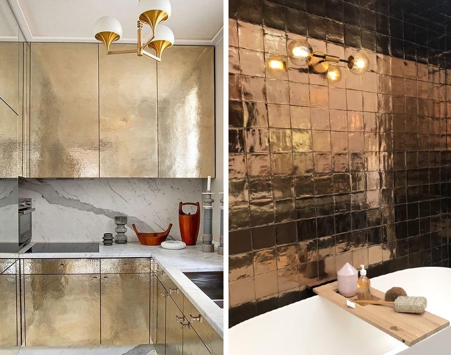металлическая плитка в ванной