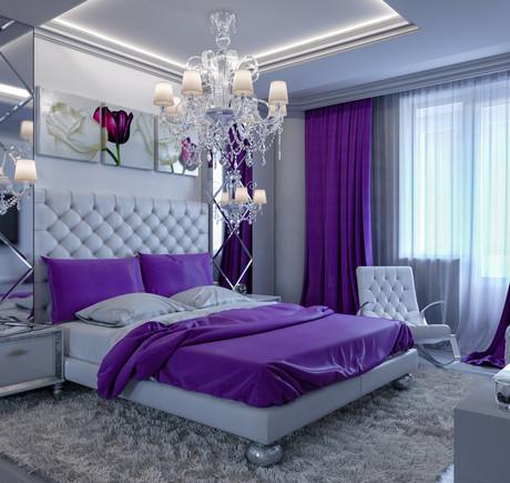 фиолетовые шторы и подушки в спальне