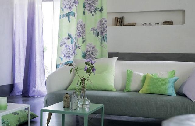 зеленые мотивы в дизайне гостиной
