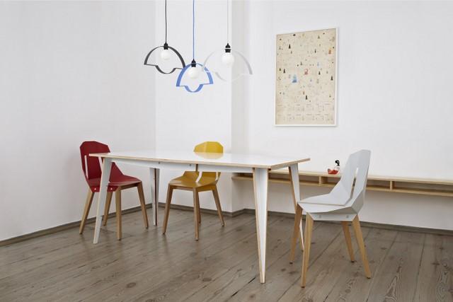 стулья и светильники из фанеры