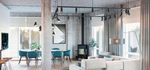 В скандинавском лофте дерево уживается с «голым» бетоном