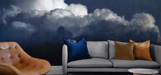 Дизайн интерьера гостиной в которой сочетаются серый и темно синий цвет