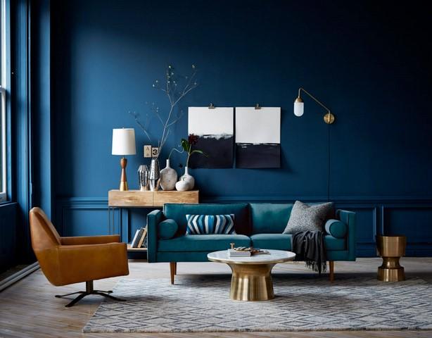 Стены темной синевы подчеркнут стиль и элегантность помещения