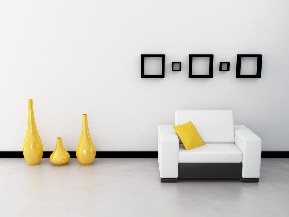 Яркие акценты в помещении где преобладает белый цвет