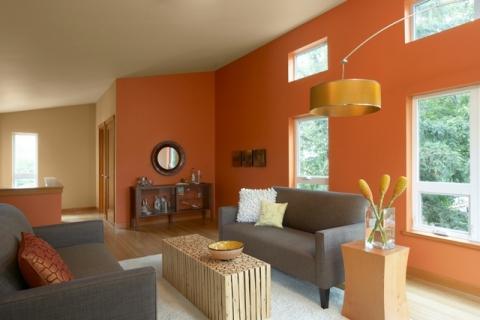 оранжевая палитра в гостиной