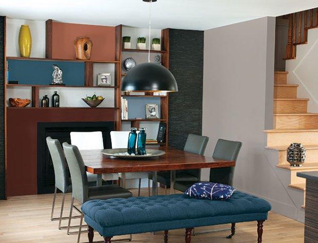 синяя кушетка в интерьер гостиной